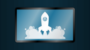 wordpress logo on rocketship